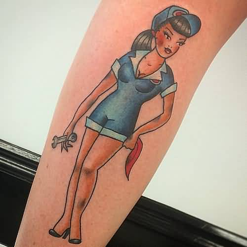 Short Dress Up Hot Pin Up Mechanic Girl Tattoo For Sleeve