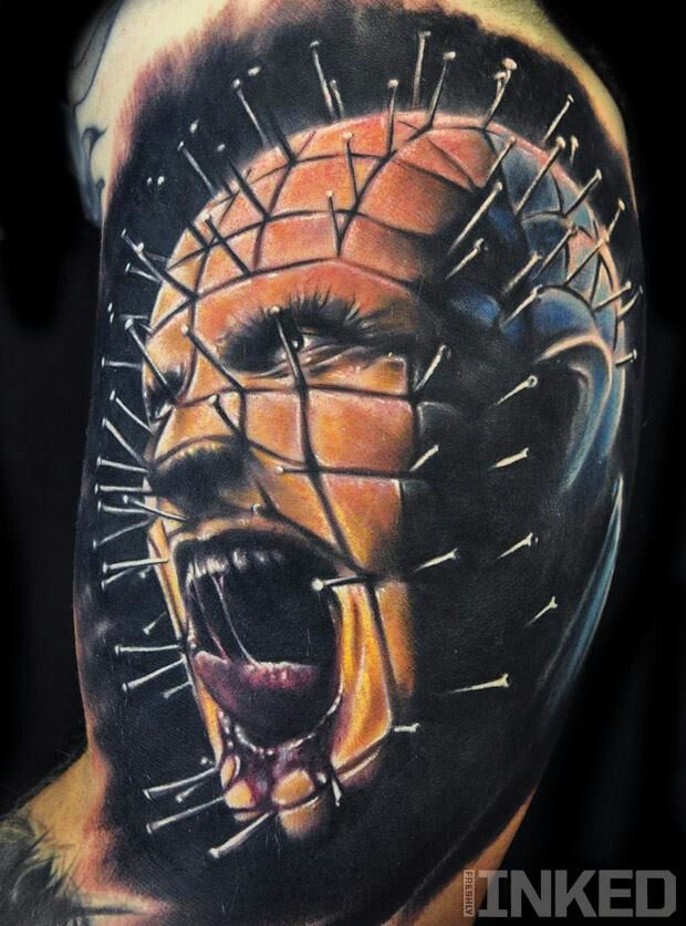 Shouting Angry Pinhead Realistic 3D Tattoo