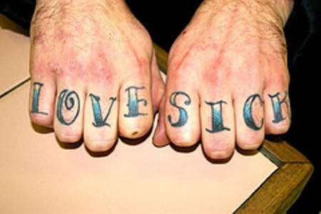 Sick Love Text Tattoo On Knuckle Finger