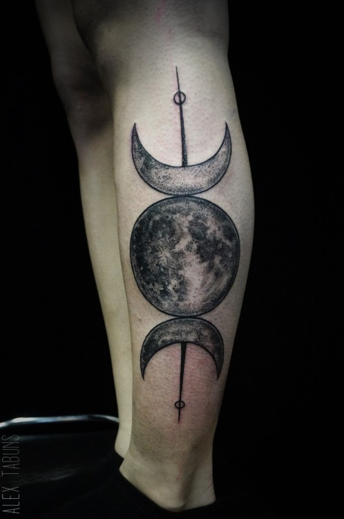 Side Leg Amazing Pagan God Half Moon Tattoo
