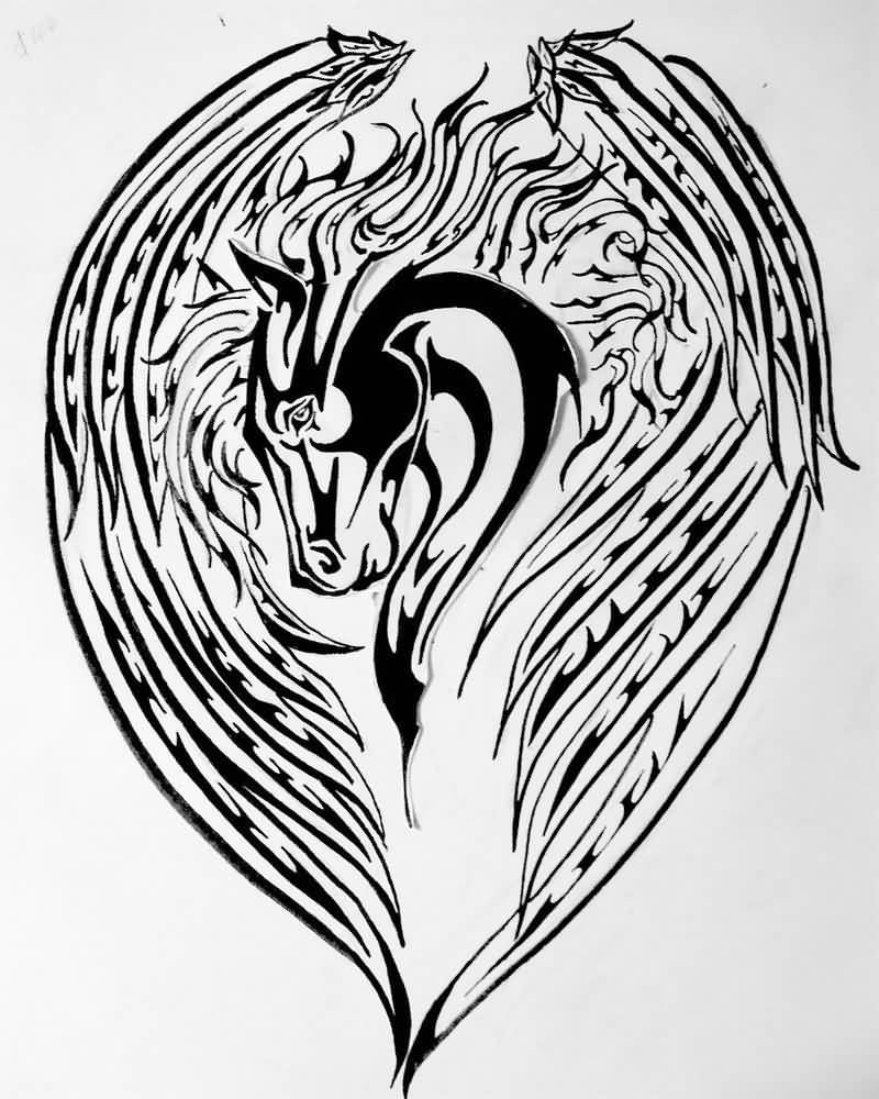 Silencer Design A Nice Pegasus Black Ink Tattoo Stencil