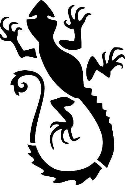 Silhouette Symbol Nice Looking Black Salamander Tattoo