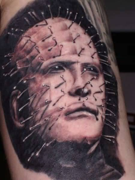Simple 3D Pinhead Face Tattoo Design Idea