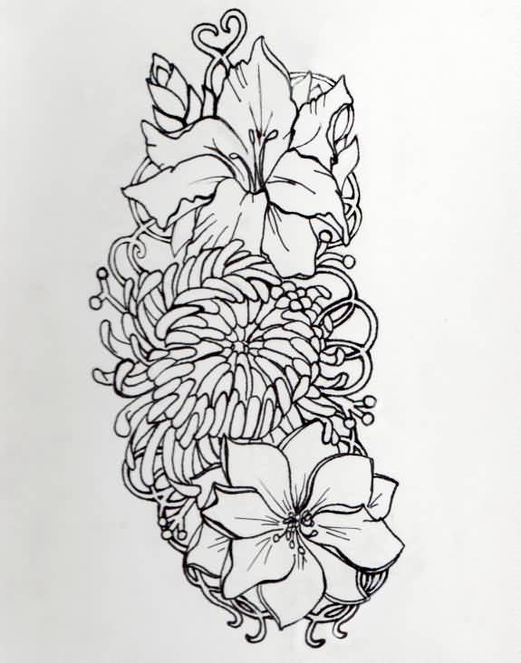 Simple And Classy Gladiolus Flower Tattoo Design