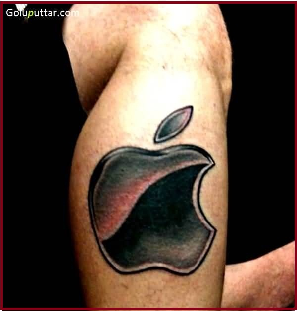 Simple And Nice Apple Logo Tattoo Design Idea Make On Men Leg