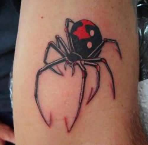 Simple And Nice Black Widow Spider Tattoo