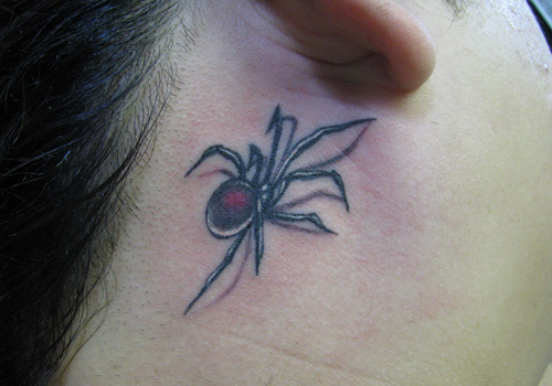 Simple And Nice Black Widow Tattoo Design For Girl Made By Grey Ink