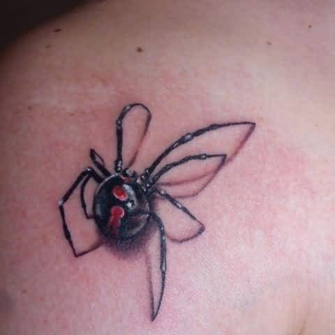 Simple And Nice Black Widow Tattoo