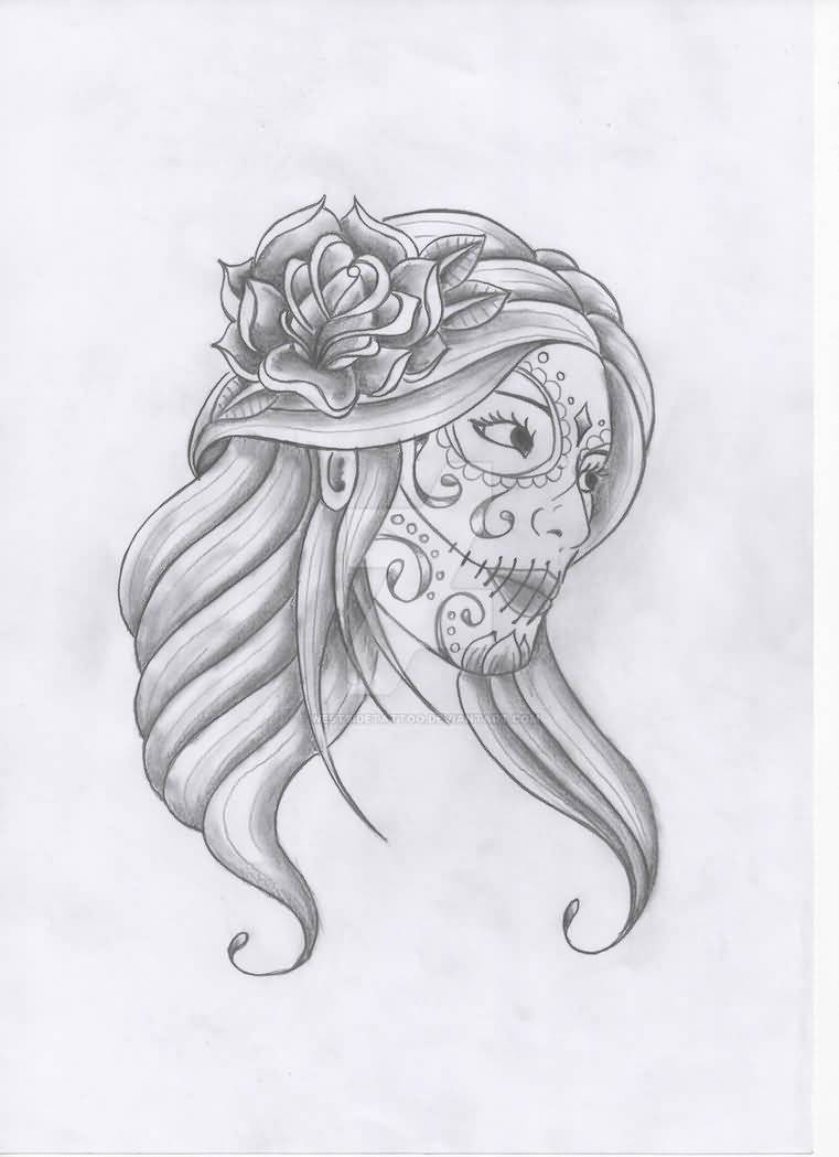 Simple And Nice Catrina Face Tattoo Sketch