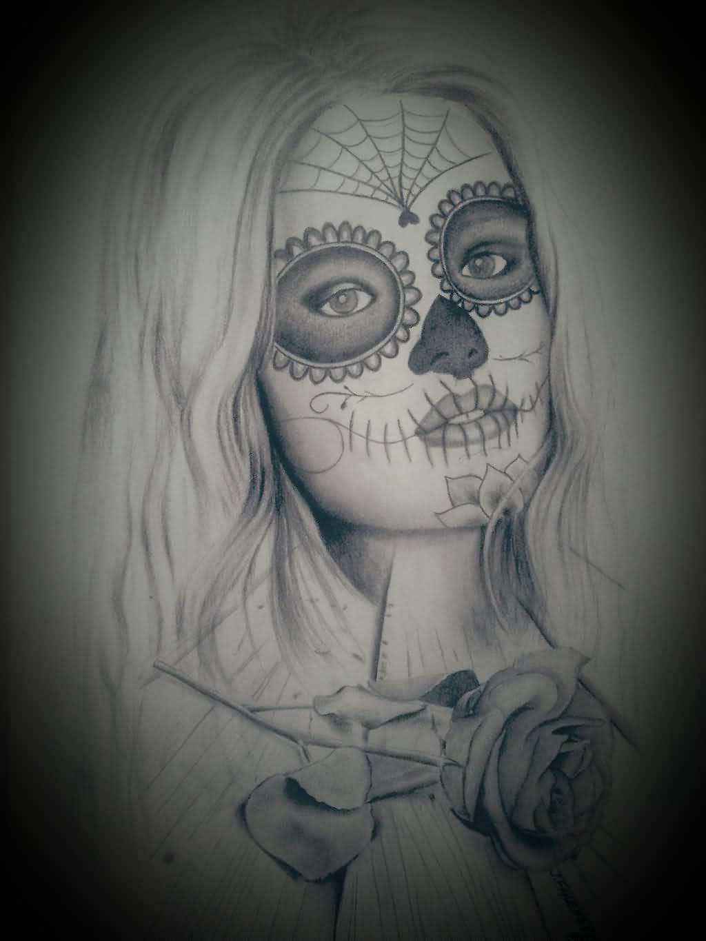 Simple And Nice Catrina Girl Face And Flower Tattoo