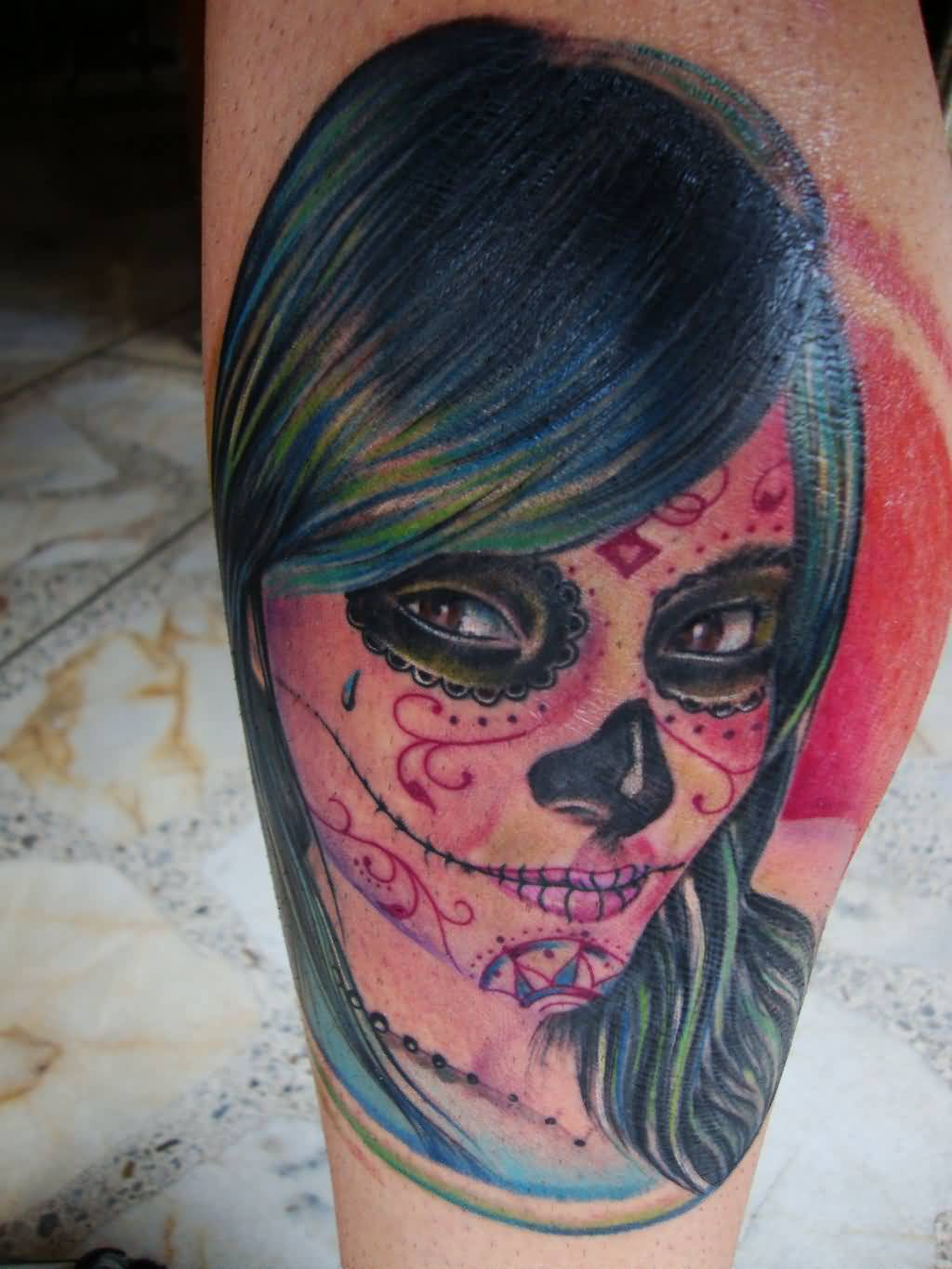 Simple And Nice Catrina Girl Face Tattoo By Hellion