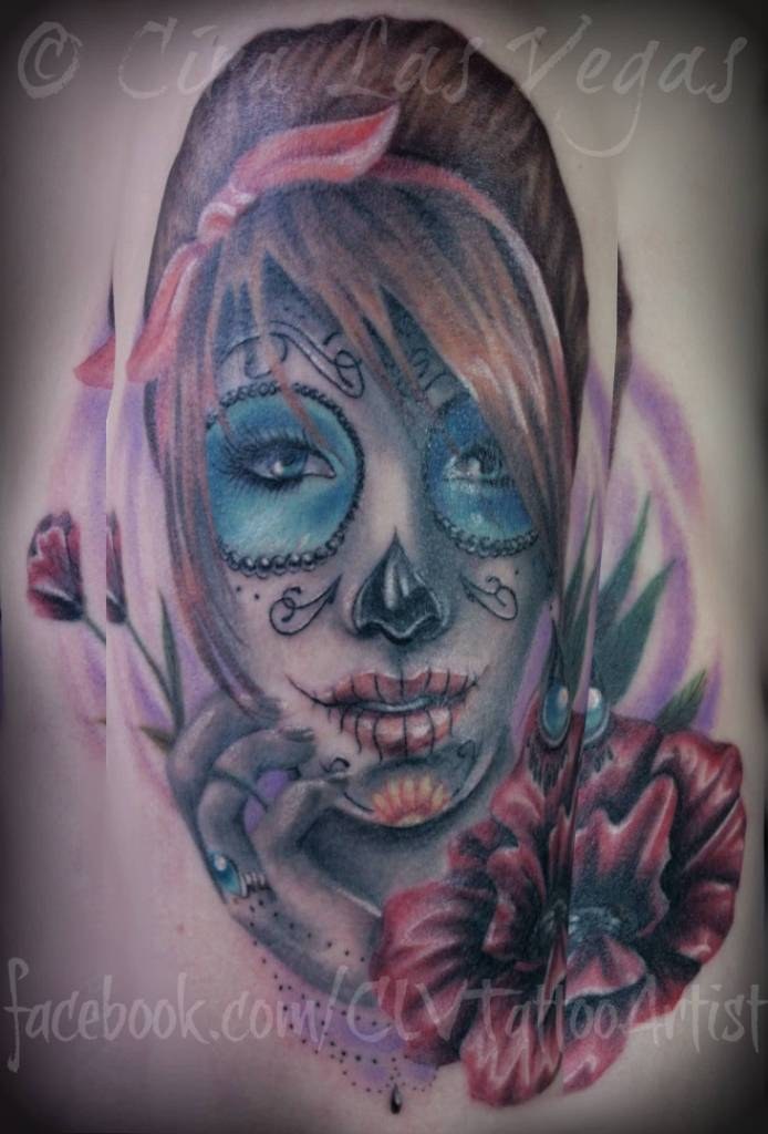 Simple And Nice Catrina Girl Face With Red Rose Tattoo