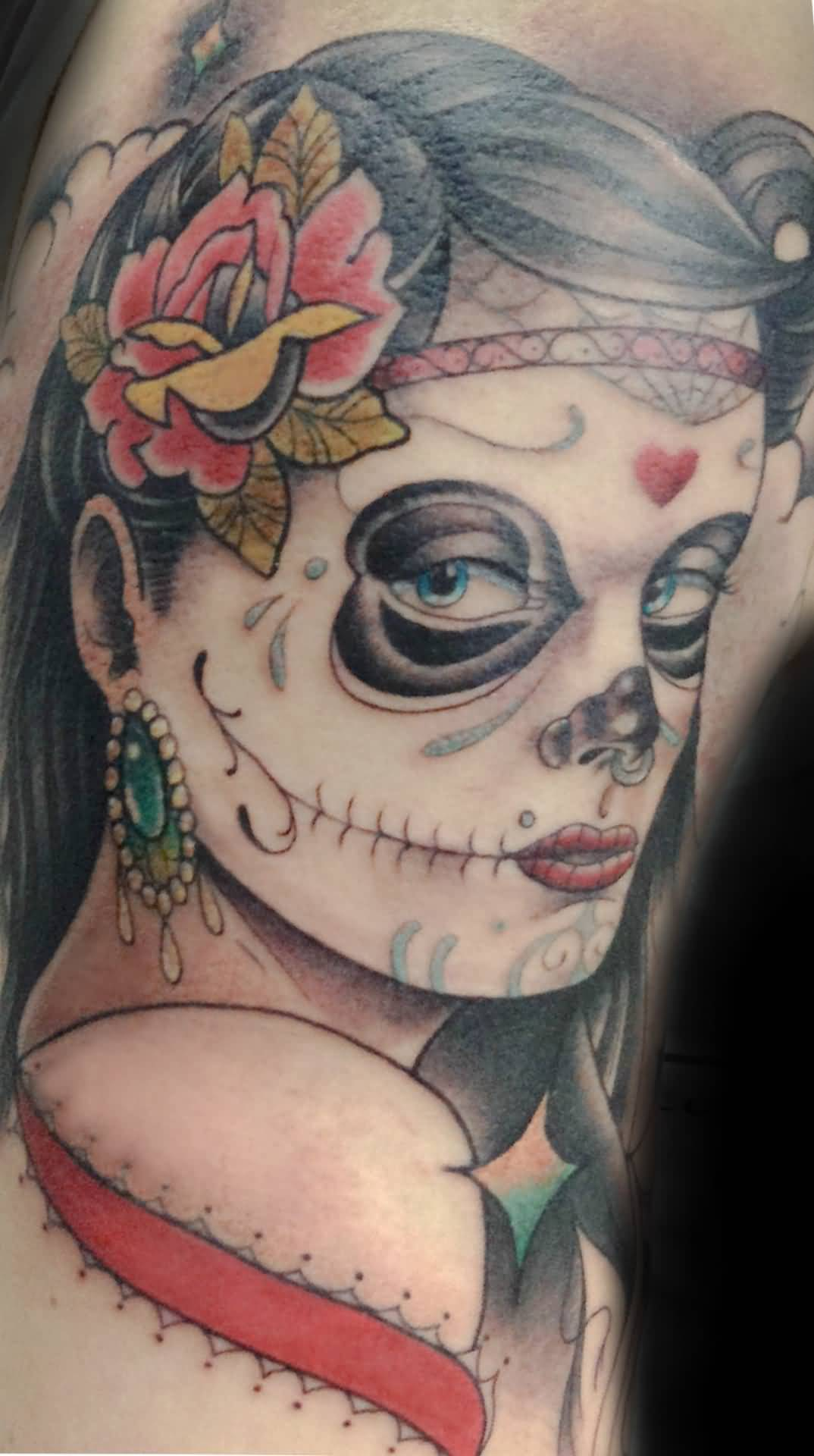 Simple And Nice Catrina Tattoo Of Girl Face