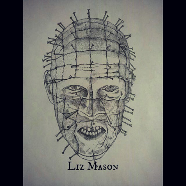 Simple And Nice Dotwork Pinhead Face Tattoo By Liz Mason