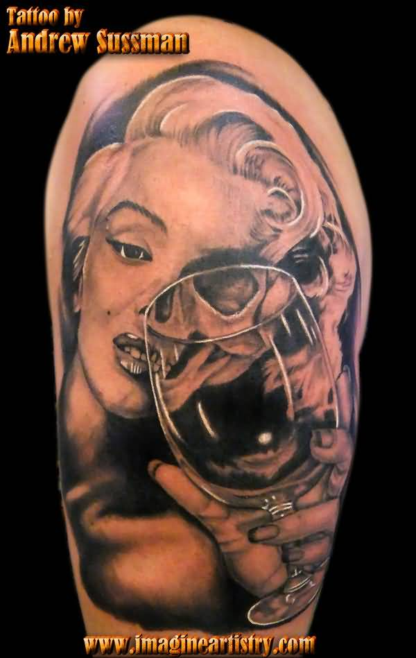 Simple And Nice Half Sleeve Marilyn Monroe Tattoo