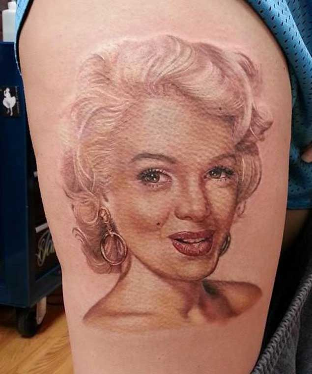 Simple And Nice Marilyn Monroe Portrait Face Tattoo
