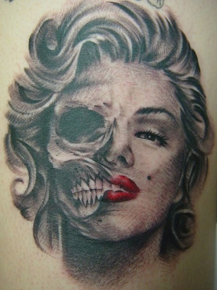 Simple And Nice Marilyn Monroe Tattoo Of Skull