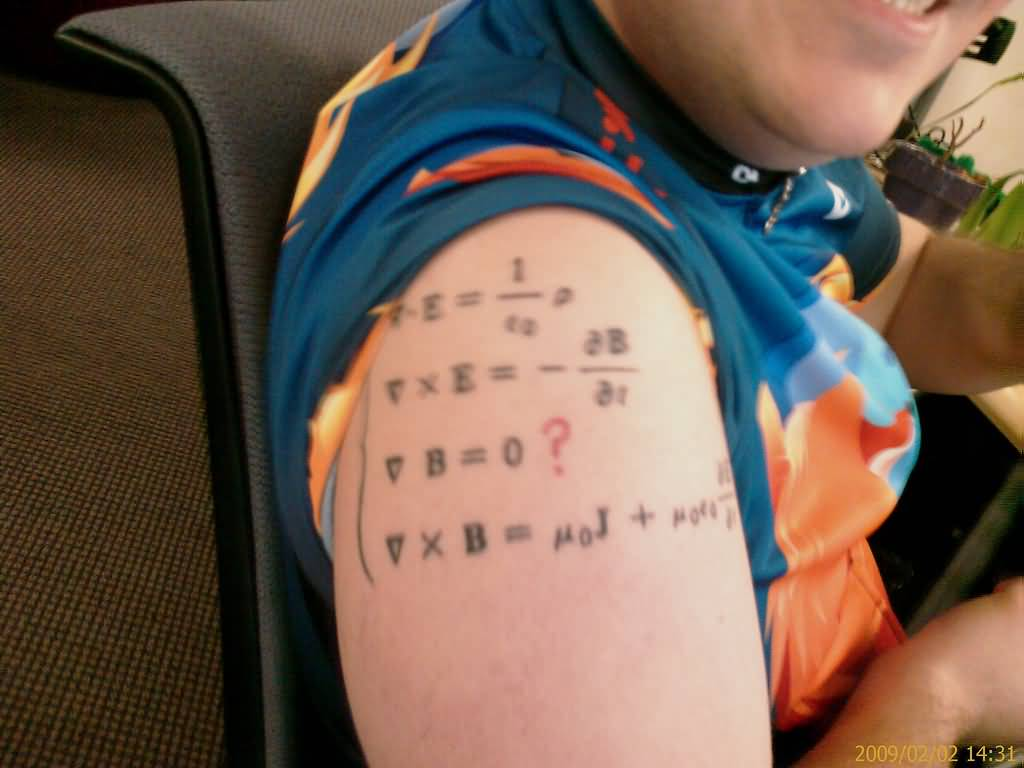 Simple And Nice Maxwell Famous Physics Equation Tattoo On Right Shoulder