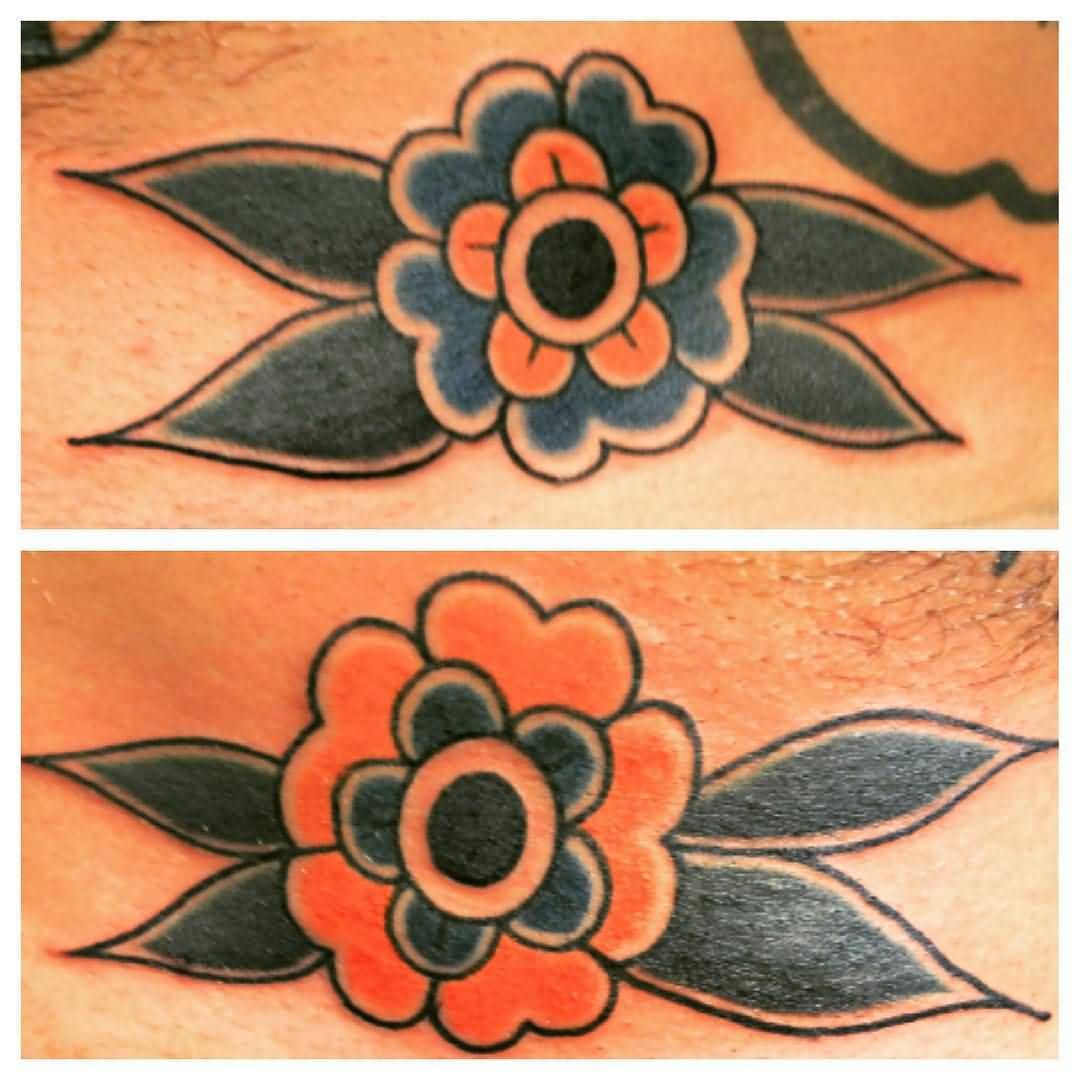 Simple And Nice Old School Flower Tattoo Design Idea