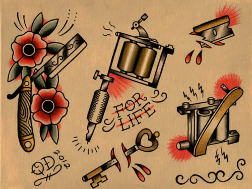 Simple And Nice Old School Tattoo Samples