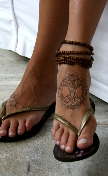 Simple And Nice Pagan Tree And StarTattoo On Girl Both Foot