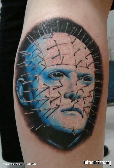 Simple And Nice Pinhead Face Tattoo Design Idea