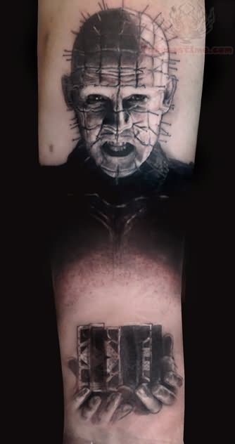 Simple And Nice Pinhead Tattoo By Black Ink
