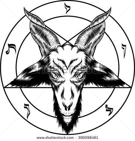 Simple And Nice Satan Symbol Head Tattoo