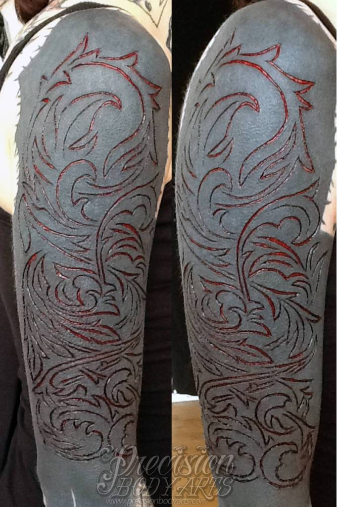 Simple And Nice Scarification Tattoo For Sleeve