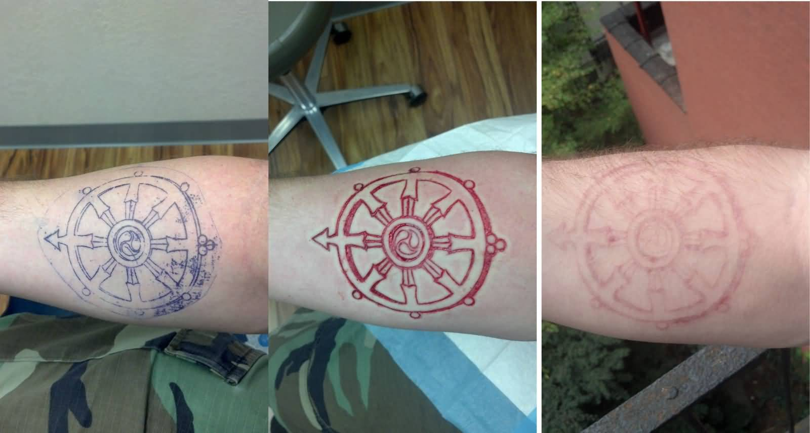 Simple And Nice Scarification Tattoo Of Ship Small Wheel