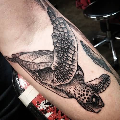 Simple And Nice Scary Sea Creature Turtle Tattoo