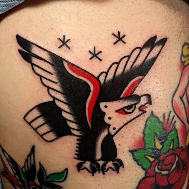 Simple And Old School Eagle With Rose Tattoo