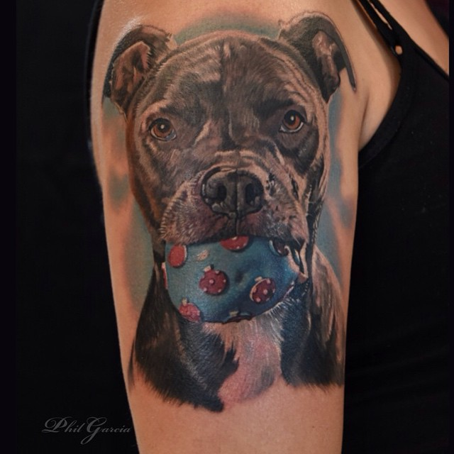 Simple Ball On Pitbull Mouth Tattoo On Girl Half Sleeve