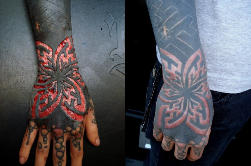 Simple Before And After Scarification Butterfly Tattoo