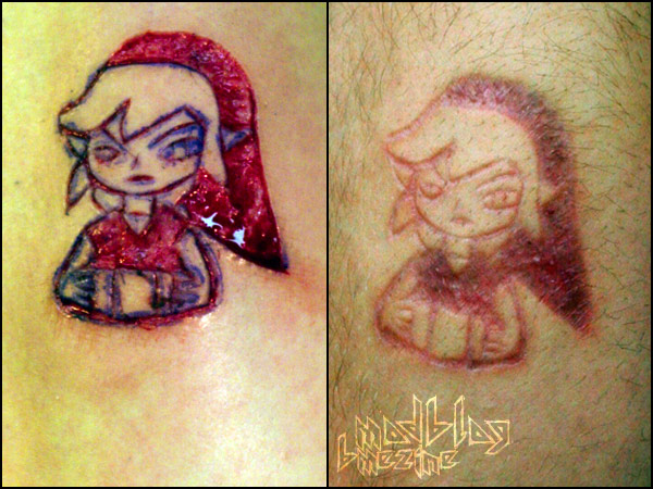 Simple Before And After Scarification Girl Face Tattoo