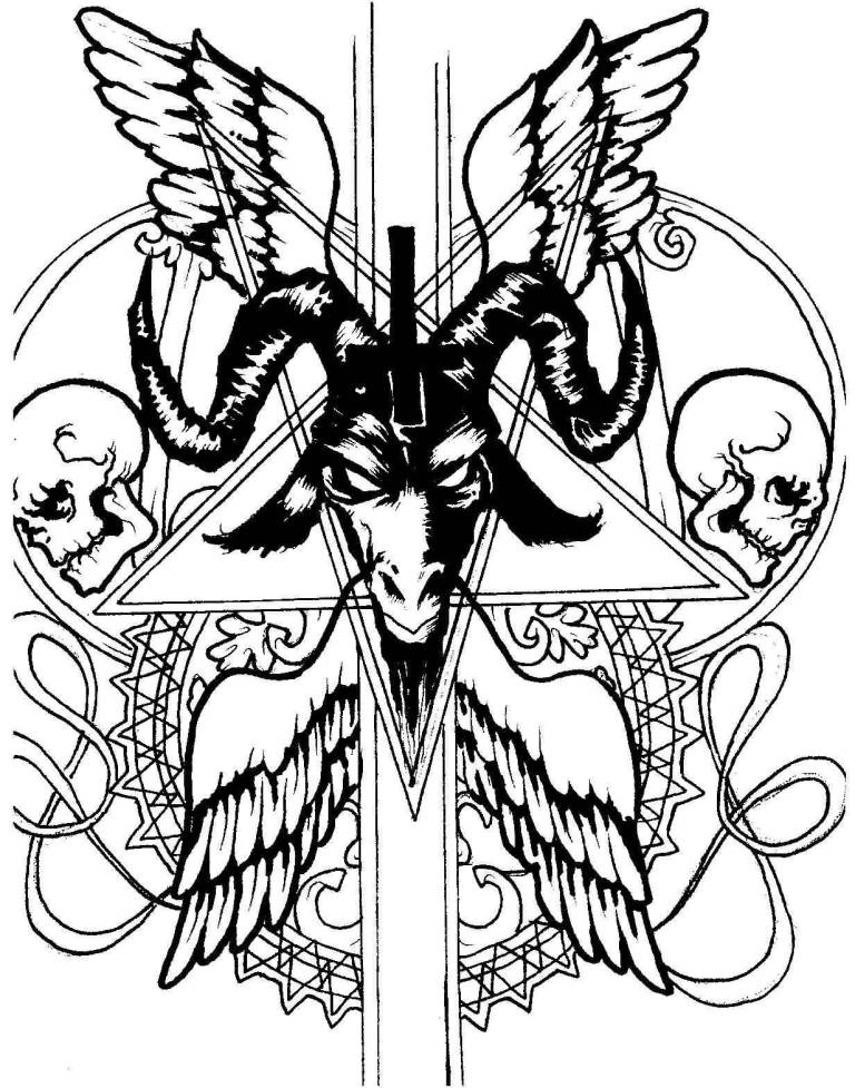 Simple Black Ink Cross And Satan Head Tattoo Design