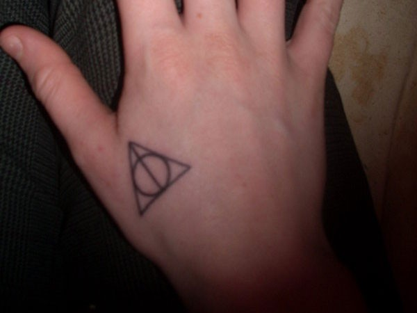 Simple Black Ink Deathly Hallows Tattoo On Hand