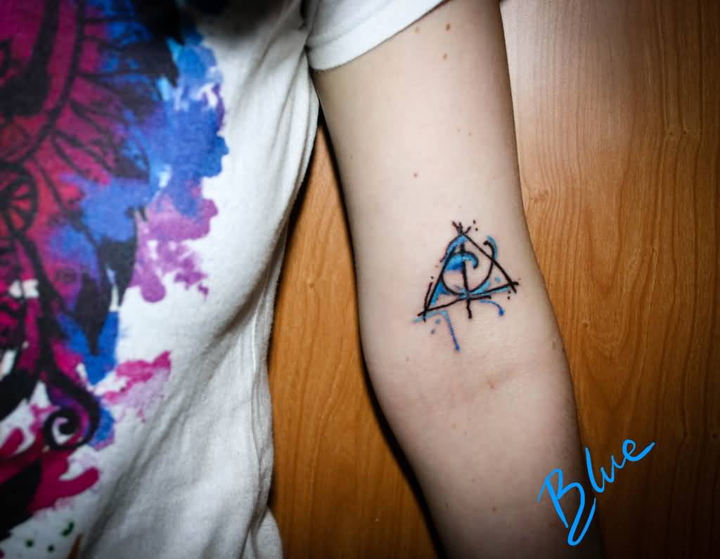 Simple Black Ink Deathly Hallows Tattoo On Inner Bicep