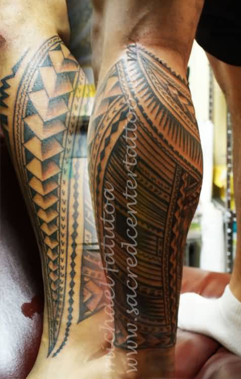 Simple Black Ink Samoan Tattoo For Men