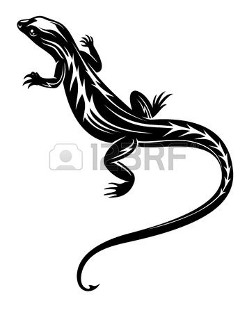 Simple Black Reptile Lizard Tattoo