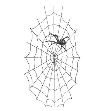 Simple Black Widow On Spider Web Tattoo Stencil