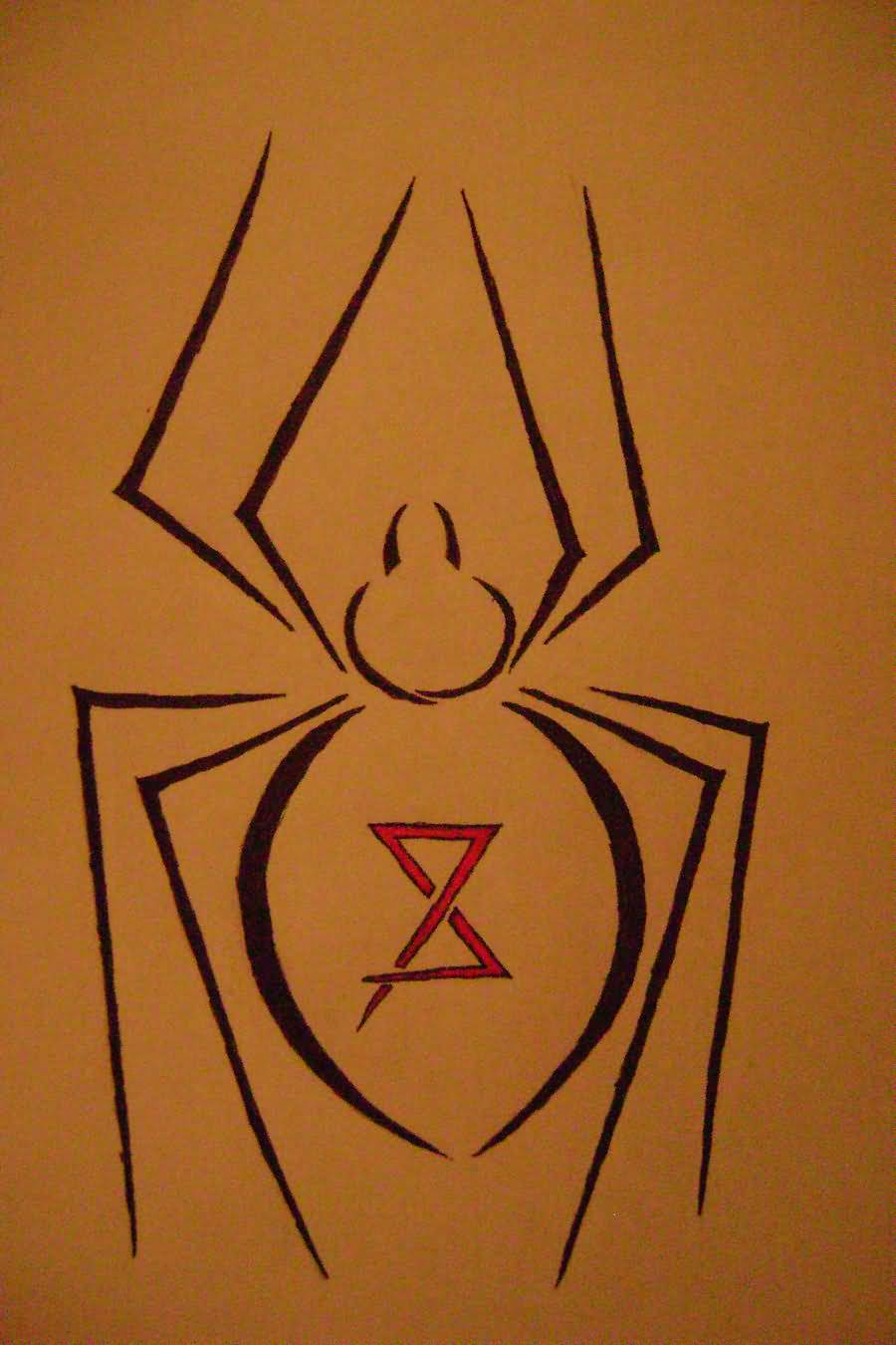 Simple Black Widow Tattoo Design Stencil