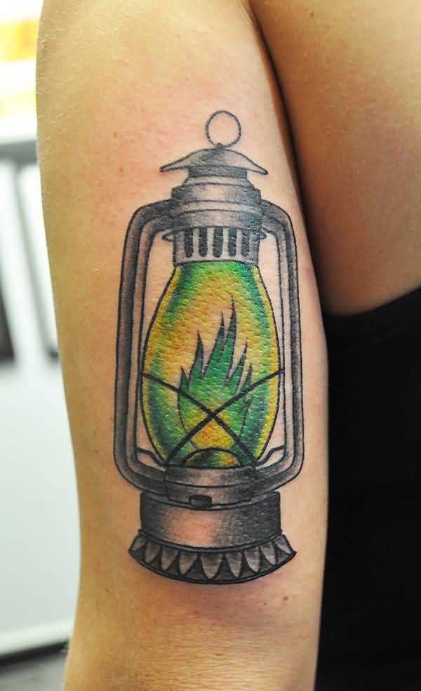 Simple Burning Lantern Lamp Tattoo