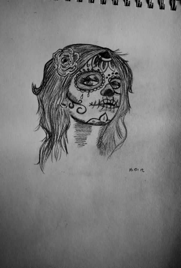 Simple Catrina Tattoo Design Drawings