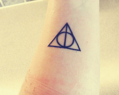 Simple Circle Triangle Deathly Hallows Tattoo