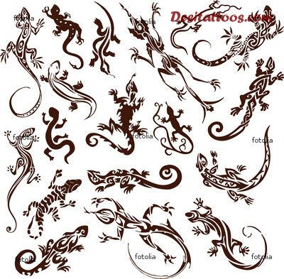 Simple Designs Of Reptile Lizards Tattoo