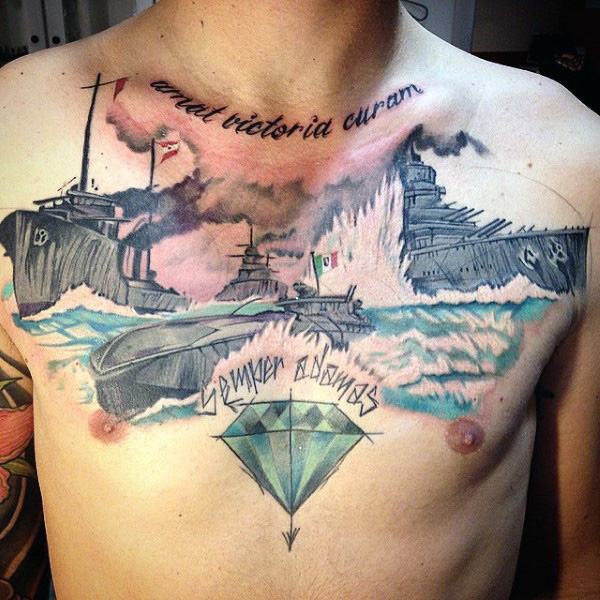 Simple Diamond And Navy Ships Tattoo Design On Chest