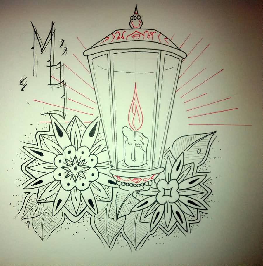 Simple Flower Lantern Candle Tattoo Drawing