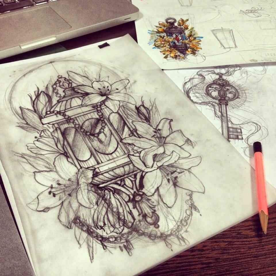 Simple Flower Lantern Tattoo Design Stencil