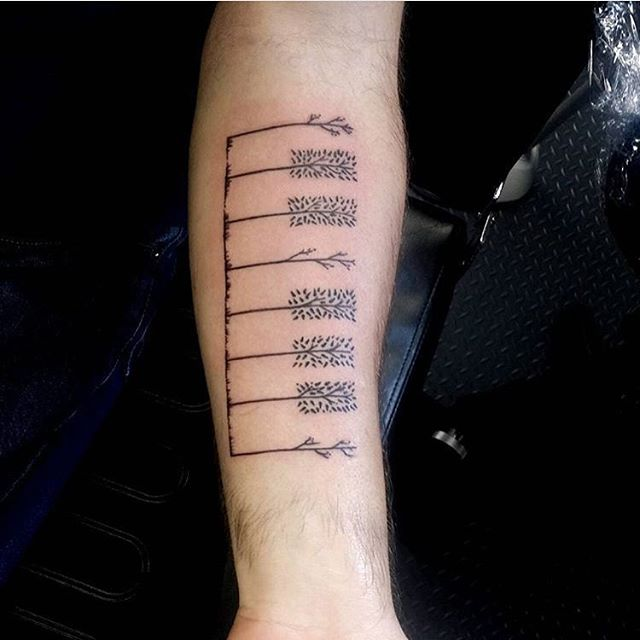 Simple Forearm Piano Keys Tattoo Design Idea